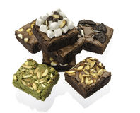 Pile of Delicious Chocolate and green tea Brownies Royalty Free Stock Image
