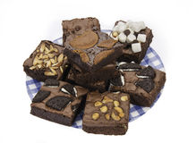 Pile of Delicious Chocolate and green tea Brownies Stock Image