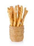 Pile of delicious pretzel sticks in basket Royalty Free Stock Photo