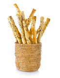 Pile of delicious pretzel sticks in basket Stock Image