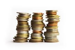 Pile della moneta Fotografie Stock