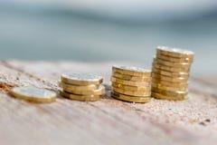 Pile della moneta di libbra Immagine Stock