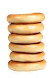 Pile des bagels sur un fond blanc Images libres de droits