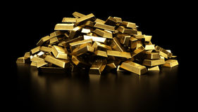 Pile des bars d'or Photographie stock libre de droits