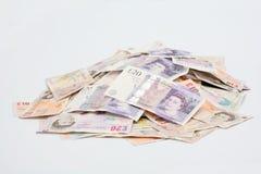 Pile des billets de banque anglais Image stock