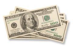 Pile des billets de banque des cents dollars (d'isolement) Photographie stock libre de droits