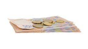 Pile des billets de banque modernes et de plusieurs pièces de monnaie de hryvnia ukrainien Photographie stock libre de droits