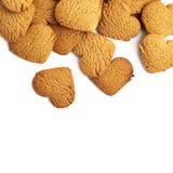 Pile des biscuits en forme de coeur de pain d'épice Image stock