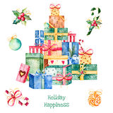 pile des boîte-cadeau et des décorations souples de Noël, ils aiment être empilés ! illustration libre de droits