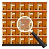 Pile des boîtes en carton scellées empilées de marchandises Photo stock