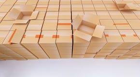 Pile des boîtes en carton sur le blanc Images libres de droits