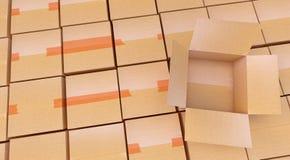Pile des boîtes en carton sur le blanc Photographie stock libre de droits