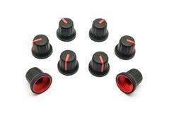 Pile des boutons rouges pour la résistance variable Photos libres de droits