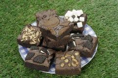 Pile des 'brownie' délicieux de chocolat dans la boîte Images libres de droits