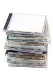 Pile des caisses cd avec le chemin Image stock