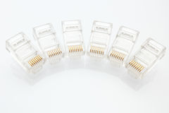 Pile des connecteurs de l'Ethernet RJ45 Photo stock