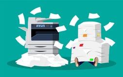 Pile des documents sur papier et de l'imprimante illustration libre de droits