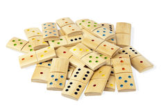 Pile des dominos d'isolement Photographie stock