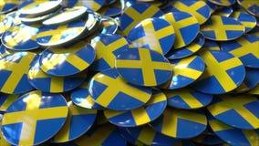 Pile des insignes comportant des drapeaux de la Suède rendu 3d Image stock