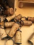 Pile des lièges décoratifs de vin Photographie stock