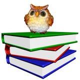 Pile des livres avec le hibou sage Photo libre de droits