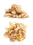 Pile des peaux de pomme de terre d'isolement Images stock
