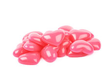 Pile des perles en forme de coeur d'isolement Photo stock