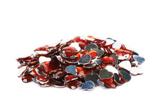 Pile des perles en forme de coeur multiples d'isolement Image libre de droits