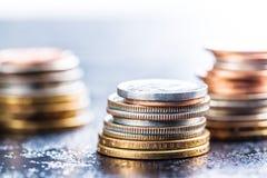 Pile des pièces de monnaie du dollar Images stock