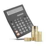 Pile des pièces de monnaie et de la calculatrice Images libres de droits