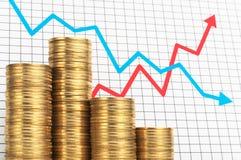 Pile des pièces de monnaie et du diagramme Succès et échec d'investissement Image libre de droits