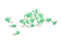 Pile des pilules prêtes à prendre vers le bas Images stock
