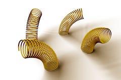 Pile des ressorts et des bobines en métal Photos stock