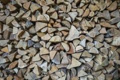 Pile des rondins de différents arbres, bois de chauffage Image stock