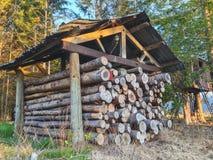 Pile des rondins en bois cutted du feu sous l'abri au Nouvelle-Zélande photos stock