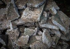A pile of destroyed concrete. Close focus a pile of destroyed concrete in low light effect Stock Images