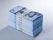 Pile di banconote saudite del riyal di 500 con l'immagine di re Abdula Fotografia Stock Libera da Diritti