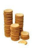 Pile di biscotti isolati su bianco Fotografie Stock