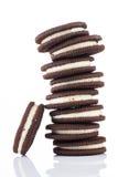 Pile di biscotti su fondo bianco Fotografia Stock Libera da Diritti