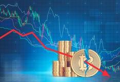 Pile di bitcoins, alto vicino di caduta del grafico Illustrazione Vettoriale