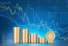 Pile di bitcoins e di grafici Illustrazione Vettoriale