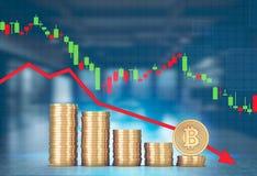 Pile di bitcoins, grafico di caduta Royalty Illustrazione gratis