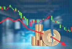 Pile di bitcoins, sfuocatura alta vicina di caduta del grafico Royalty Illustrazione gratis