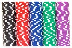 Pile di chip di mazza multicolori Immagini Stock Libere da Diritti