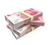 Pile di cinese Yuan Banknotes Immagini Stock