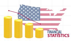 Pile di diagramma a colonna delle monete con U.S.A. su fondo immagini stock libere da diritti