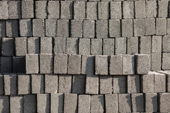 Pile di Gray Concrete Bricks Fotografia Stock