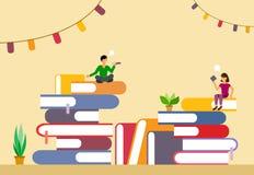 Pile di libri con i segnalibri e di caratteri nello stile del piano Vettore illustrazione di stock