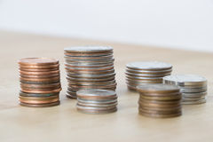 Pile di monete americane Fotografie Stock Libere da Diritti