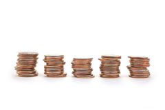 Pile di monete da dieci centesimi di dollaro Immagini Stock